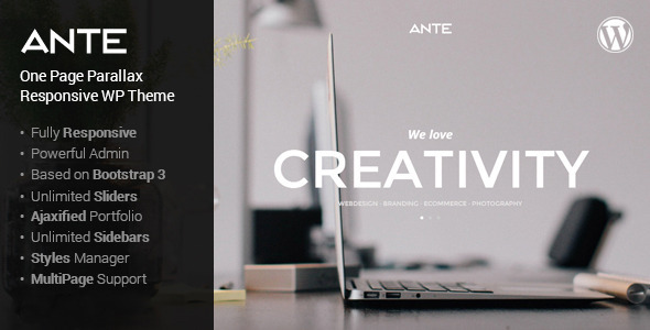 ThemeForest Ante the ultimate wordpress parallax theme 7390473