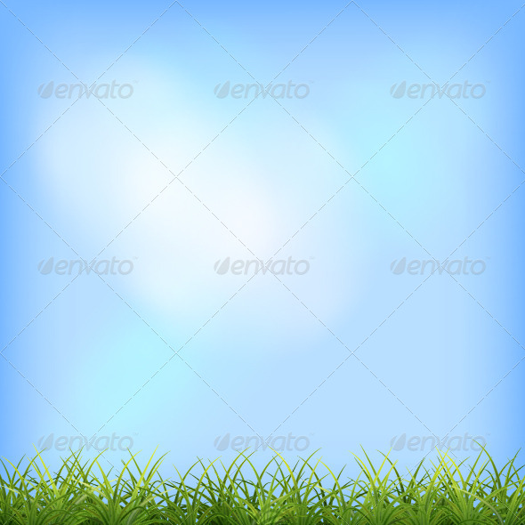 GraphicRiver Green Grass Blue Sky Natural Background 7426683