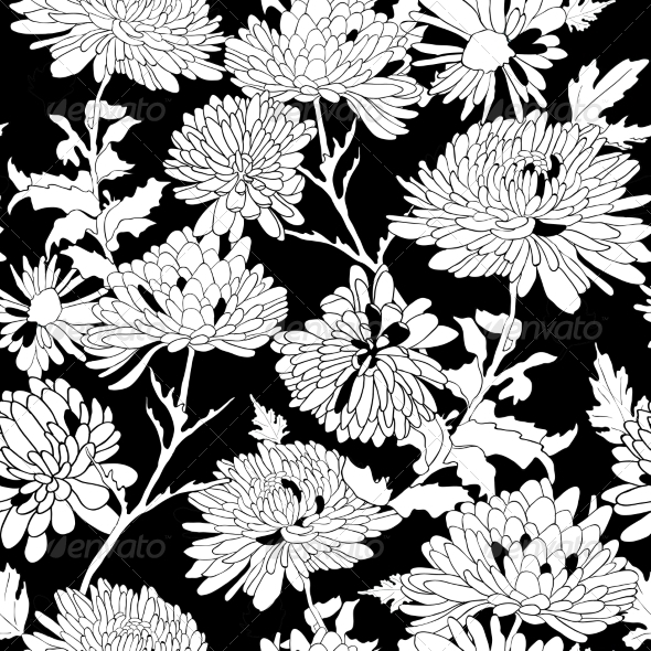 GraphicRiver Floral Pattern Background with Chrysanthemum 7427212