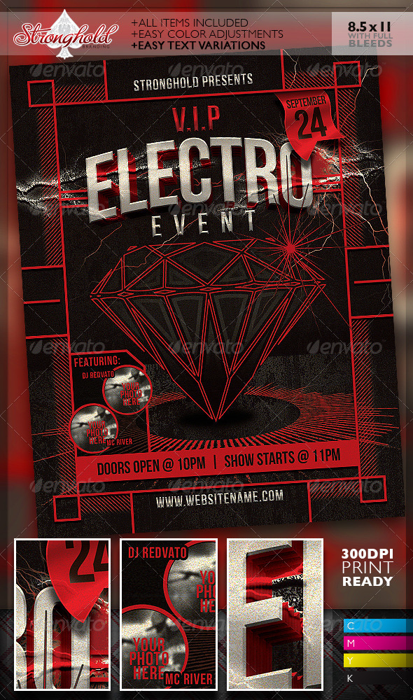 GraphicRiver Vintage Electro Haus Event Flyer Template 7427436