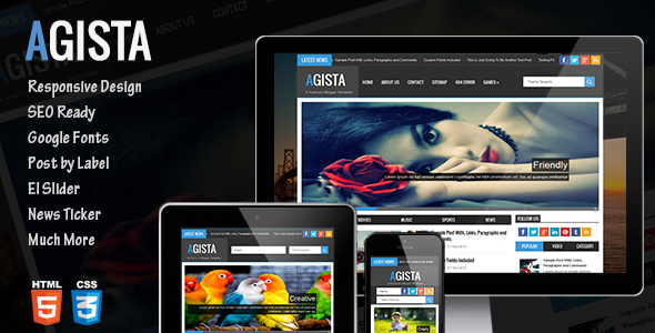 ThemeForest Agista Responsive Multipurpose Blogger Template 7390532