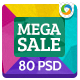 Mega Sale Banners - 5 Colours  - GraphicRiver Item for Sale