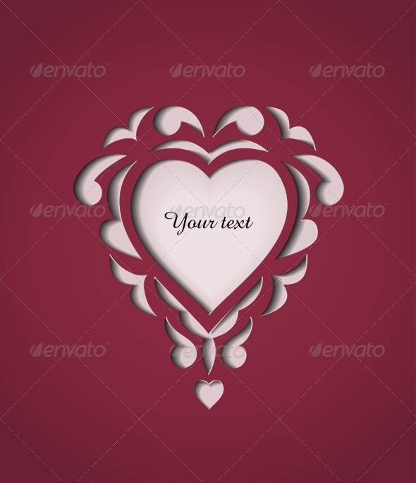 GraphicRiver Paper Cutout Card with Heart 7428393