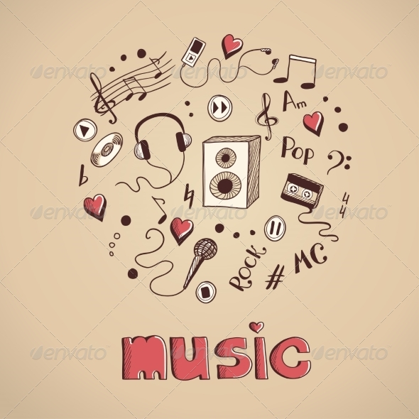 GraphicRiver Sketch of Music Elements 7428582