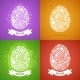 Four Easter Egg Cards of White Objects - GraphicRiver Item for Sale