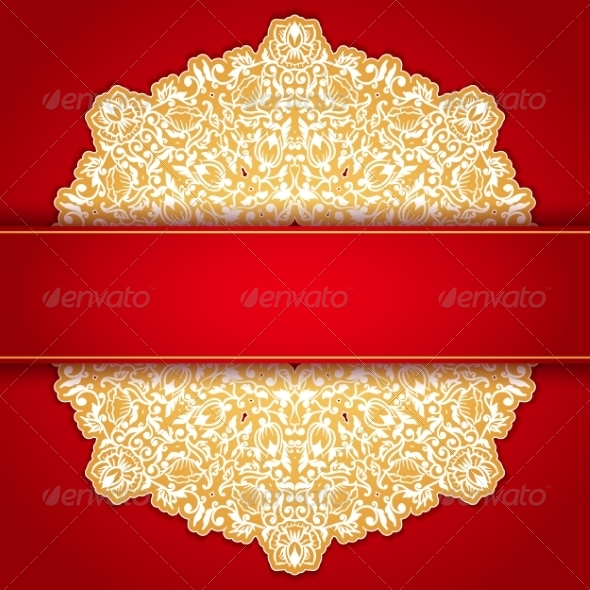 GraphicRiver Gold and Red Round Ornament Invitation Pattern 7430702