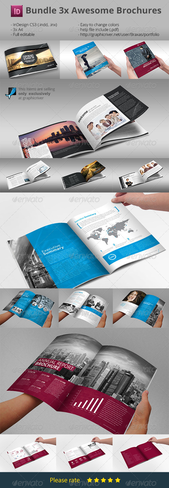 GraphicRiver Bundle Brochures Template Indesign x3 7431166