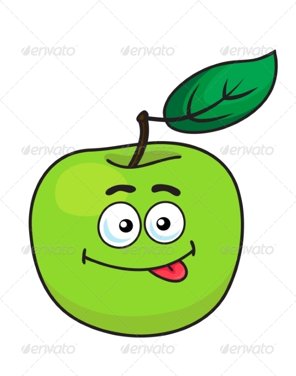 GraphicRiver Green Cartoon Apple with Goofy Expression 7431230