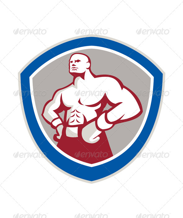 GraphicRiver Boxer with Hands on Hips Shield 7431608