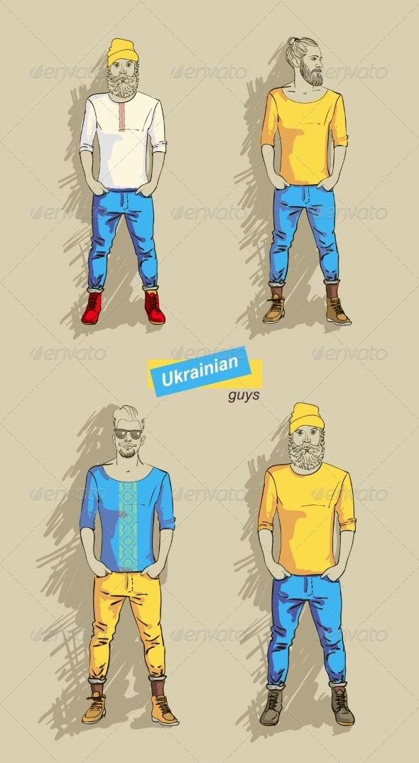 GraphicRiver Ukrainian Men in Fashion Set 7431634