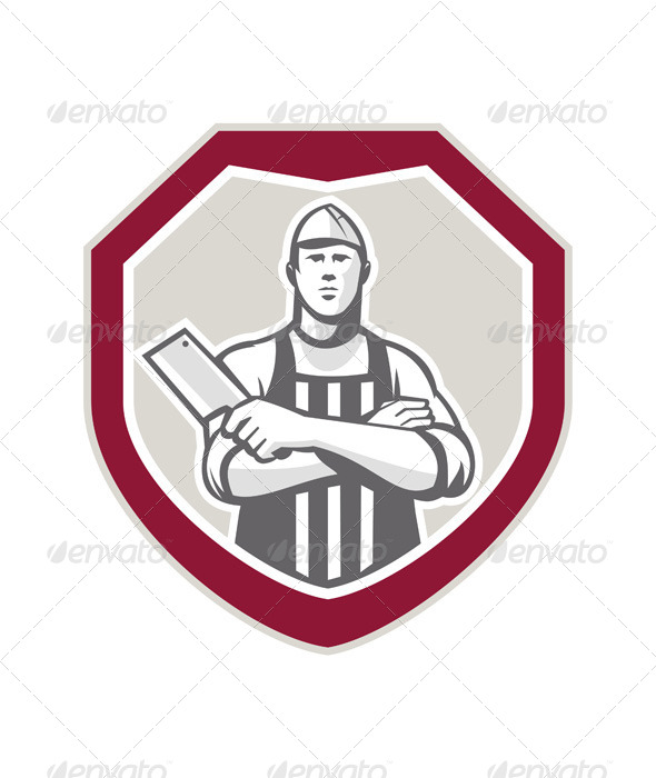 GraphicRiver Butcher With Meat Cleaver Shield Retro 7431637