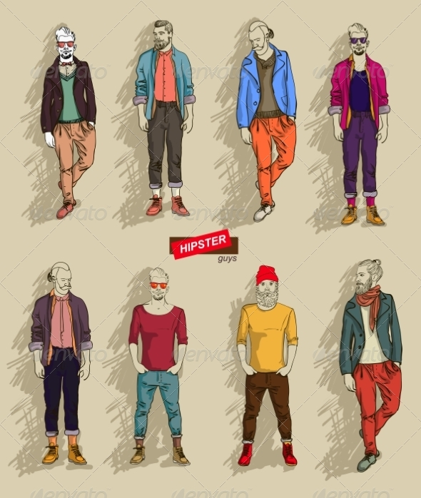 GraphicRiver Hipster Men in Fashion Set 7431648