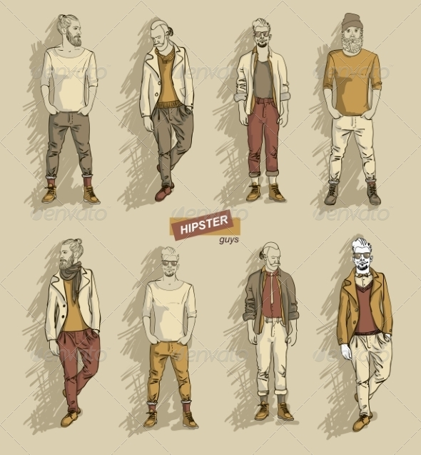 GraphicRiver Hipster Men in Fashion Set 7431652