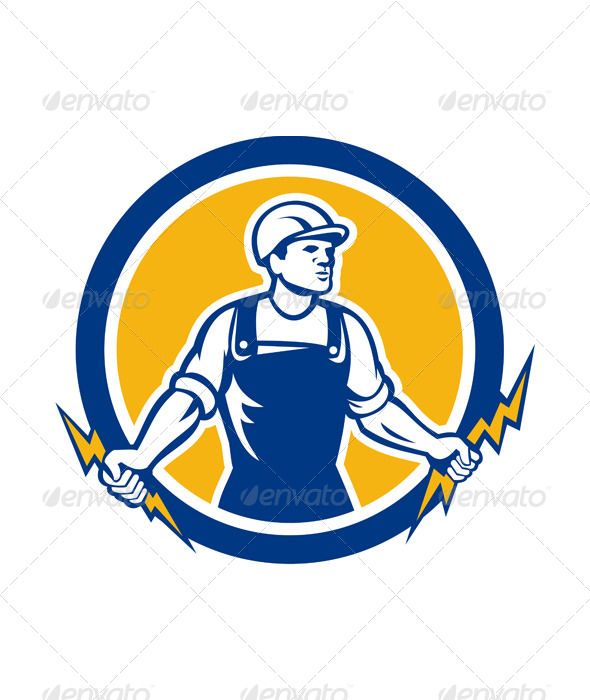 GraphicRiver Electrician Holding Two Lightning Bolts Retro 7431728