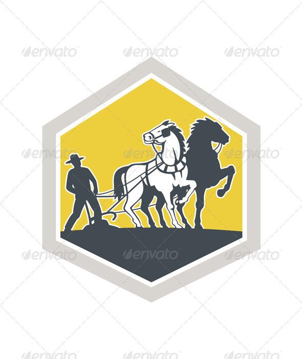 GraphicRiver Farmer and Horses Plowing Field Crest Retro 7431828