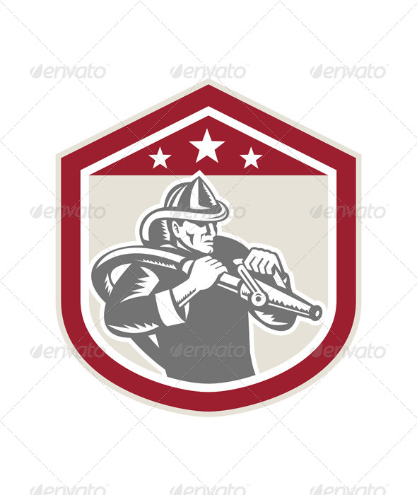 GraphicRiver Retro Firefighter Shield with Hose 7431837