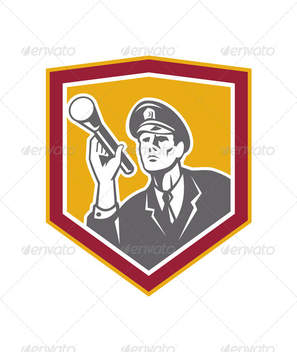 GraphicRiver Security Guard with Flashlight Shield Retro 7432009