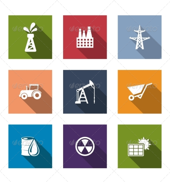 GraphicRiver Set of Flat Industrial Icons 7432081