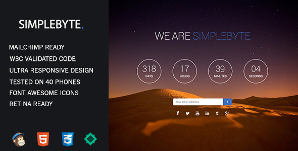 ThemeForest SimpleByte Responsive Coming Soon Template 7364841