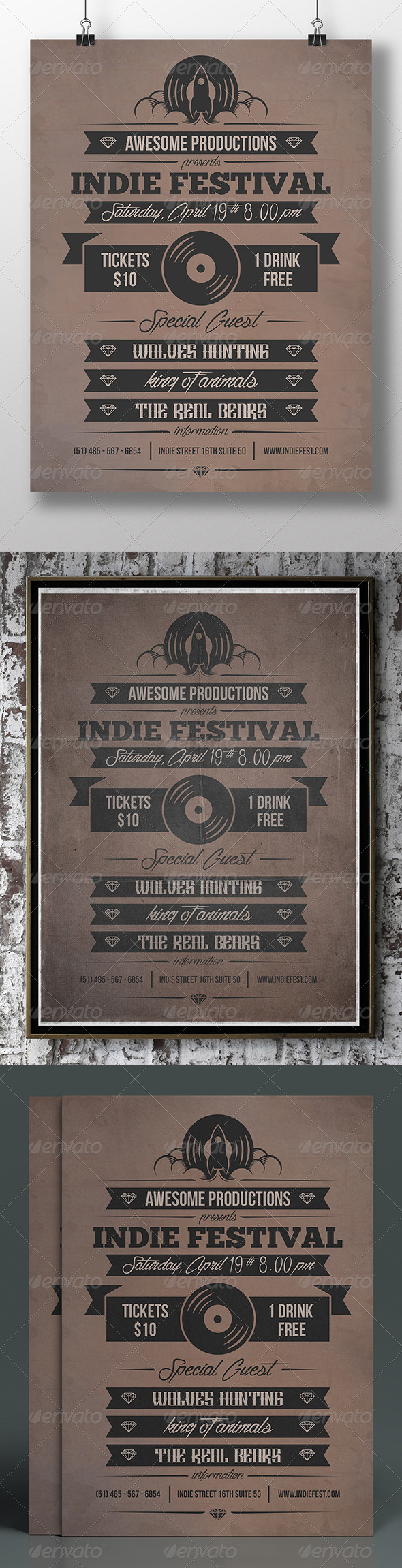 GraphicRiver Vintage Typography Flyer 7432874