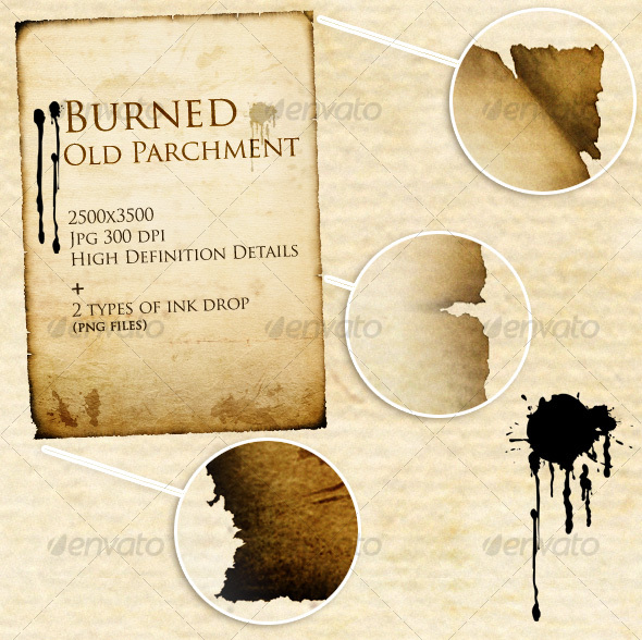 GraphicRiver Burned Old Parchment & ink drop 31555