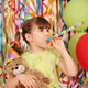 happy little girl with teddy bear birthday party - PhotoDune Item for Sale