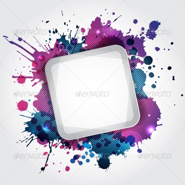 GraphicRiver Modern White Frame with Blue Blots 7434423