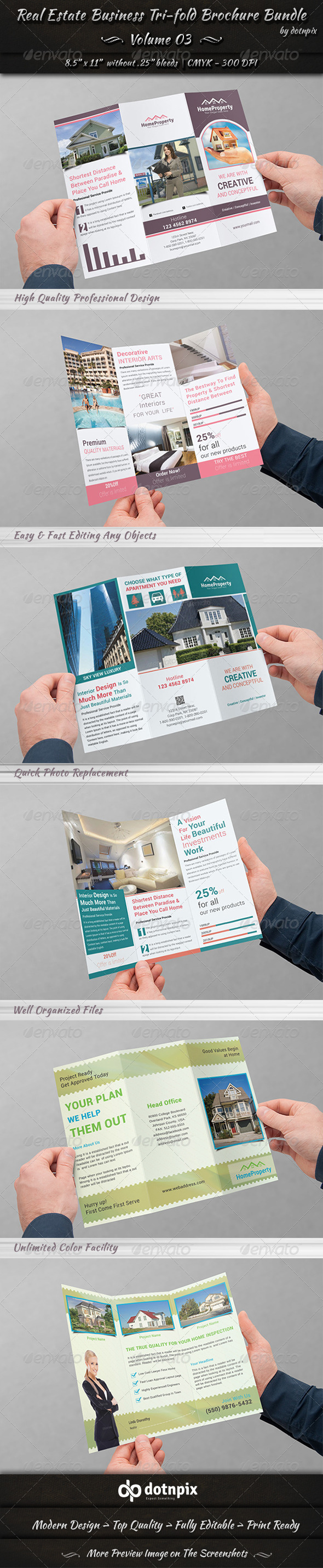 GraphicRiver Real Estate Tri-Fold Brochure Bundle Volume 3 7436174