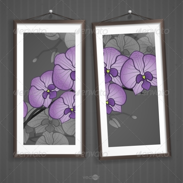 GraphicRiver Two Framed Floral Pictures on Striped Wall 7436213