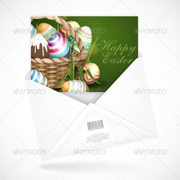 GraphicRiver Easter Background with a Basket 7436333