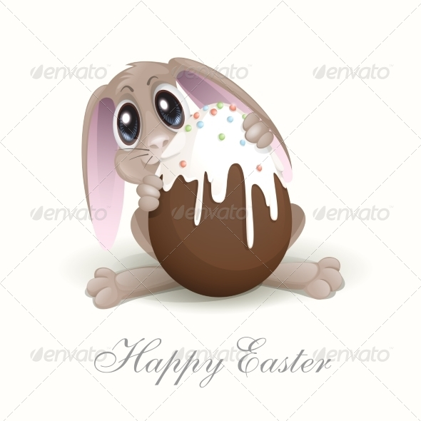 GraphicRiver Easter Bunny with Chocolate Egg 7436346