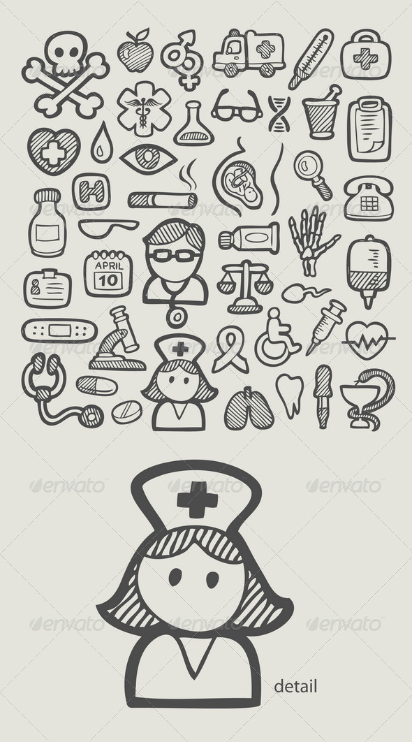 GraphicRiver Medical Icons Sketch 7436347