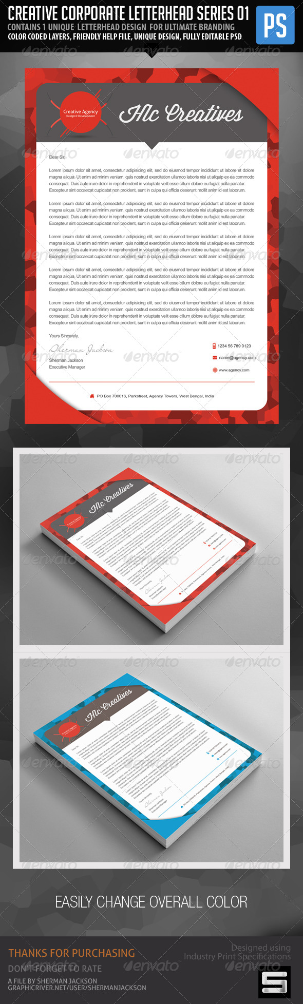 GraphicRiver Creative Corporate Agency Letterhead Vol.1 7436453