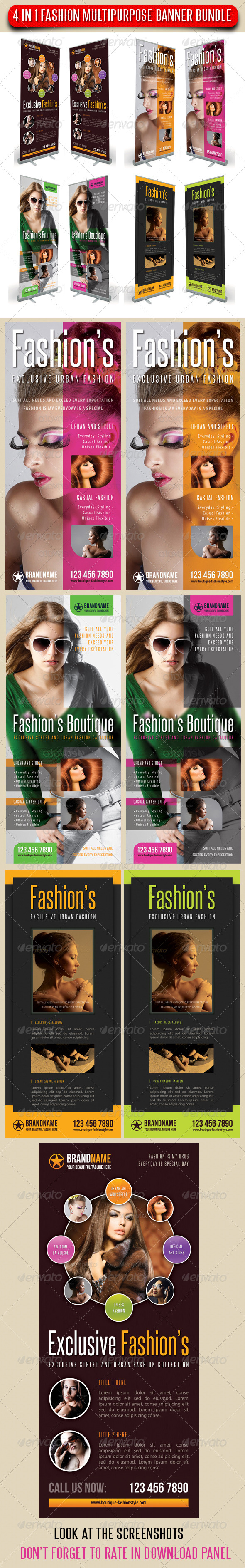 GraphicRiver 4 in 1 Fashion Multipurpose Banner Bundle 09 7437040