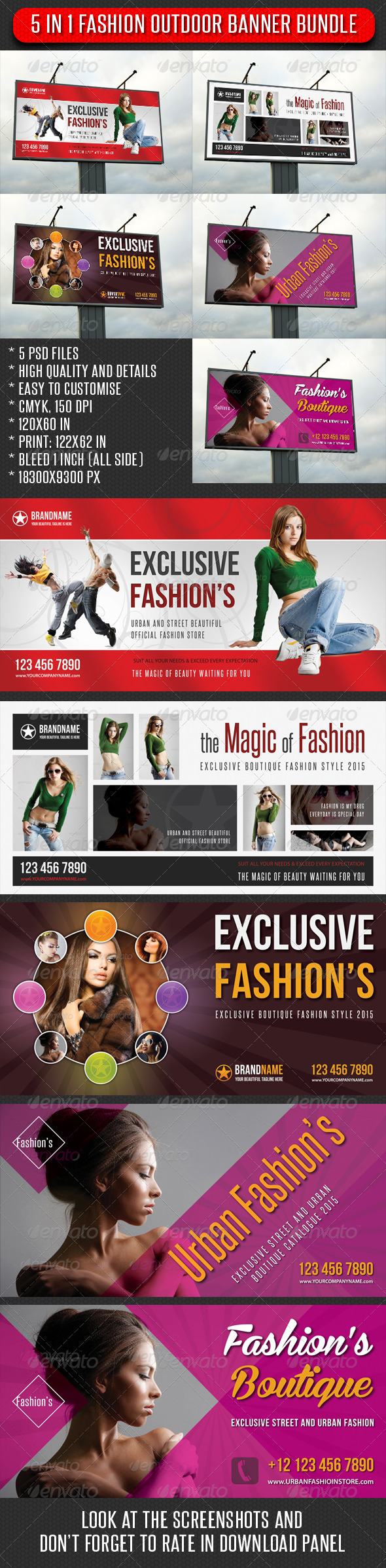 GraphicRiver 5 in 1 Fashion Outdoor Banner Bundle 04 7437296