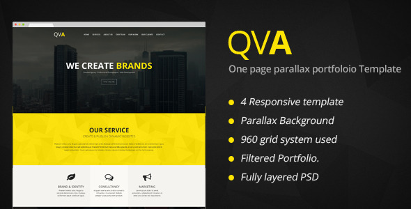 ThemeForest QVA One Page Multi-purpose HTML Template 7391226