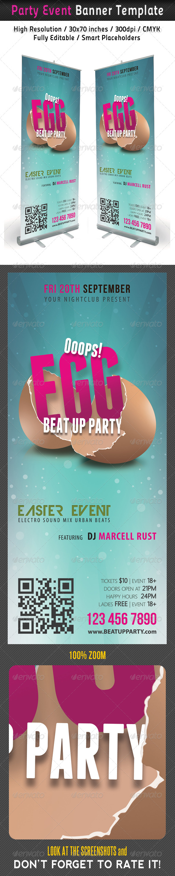 GraphicRiver Easter Break Up Party Banner Template 7440278