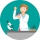 Affable Chemist Woman Doing an Experiment or Test - GraphicRiver Item for Sale