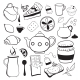 Tea and Sweets Black and White Objects - GraphicRiver Item for Sale