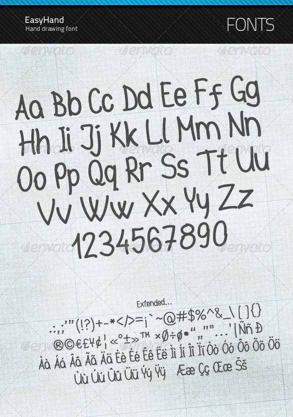 GraphicRiver EasyHand true type font 123250
