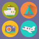 Shady I Con Travel, Flat + Long Shadow Icons - GraphicRiver Item for Sale