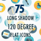 Long Shadow 120-degree Flat Icons Set - GraphicRiver Item for Sale