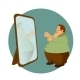 Obese Man Looking in Mirror - GraphicRiver Item for Sale