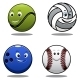 Set of Four Cartoon Sports Balls - GraphicRiver Item for Sale