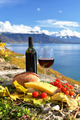 Red wine, chees, bread and cherry tomatos. Lavaux, Switzerland - PhotoDune Item for Sale