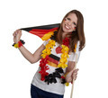 Attractive woman shows german flag and smiles in front of white background - PhotoDune Item for Sale