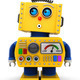Yellow toy robot is looking surprised up in the air - PhotoDune Item for Sale