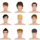 Different Hairstyle Men Faces Icons Set - GraphicRiver Item for Sale