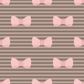 Seamless pattern with tile pastel pink bows on brown stripes backgroung - PhotoDune Item for Sale