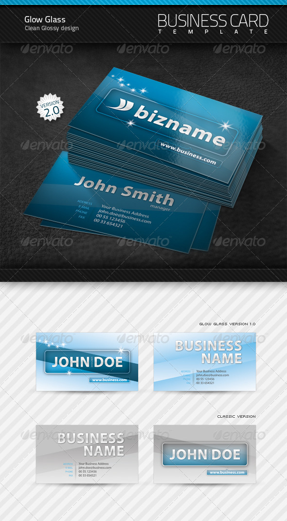 GraphicRiver Glow Glass Business Card 99918